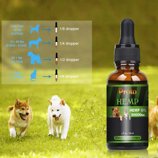 [Not Available in UK] Proto Broad Spectrum Hemp oil for Dogs, 30000mg, Great for Pain Relief , Anxiety, Calming, Pet Recovery and Sleep