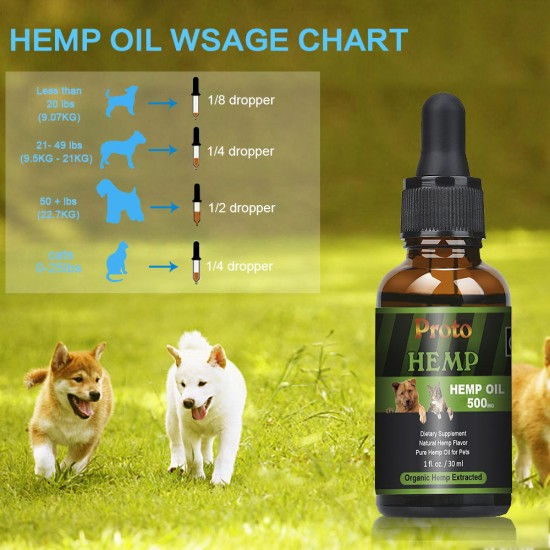 [Not Available in UK] Proto Broad Spectrum Hemp oil for Dogs, Pet Recovery Sleep, FDA Approved, 500mg