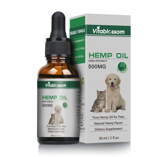 Vitablossom Hemp oil for Dogs,Organic Hemp oil for Pets, Hemp oil for Pats - 500mg