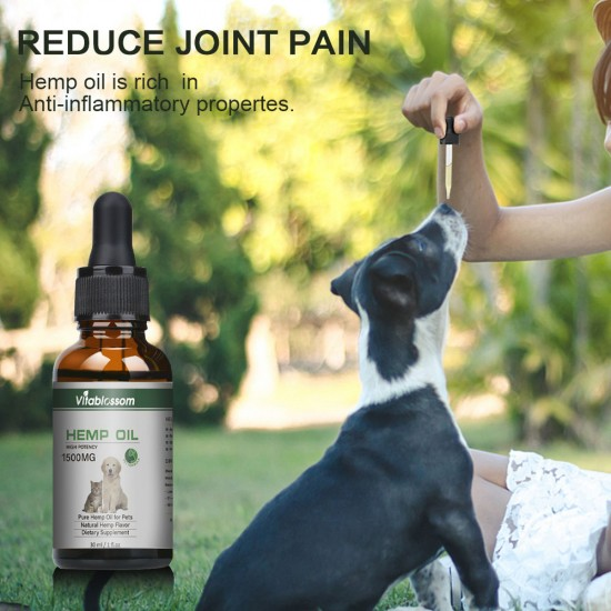 [Not Available in UK] Broad Spectrum Hemp oil for Pets, Vitablossom Hemp oil for Pats ,Great for Pain Relief - 1500mg