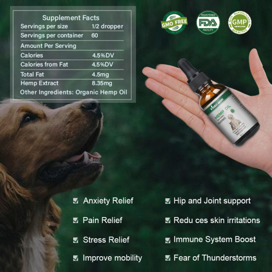Broad Spectrum Hemp oil for Pets, Vitablossom Hemp oil for Pats ,Great for Pain Relief - 5000mg