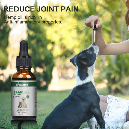 [Not Available in UK] Broad Spectrum Hemp oil for Pets, Vitablossom Hemp oil for Pats ,Great for Pain Relief - 5000mg