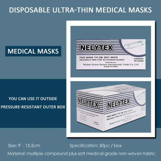 NELYTEX Disposable Face Masks 3 Ply, Great for Virus COVID-19 Protection and Personal Health (50 pcs)